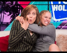 Lauren Cohan & Ronda Rousey's Impression of Mark Wahlberg